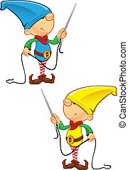 Elf Mascot - Needle And Thread - A vector illustration of an...