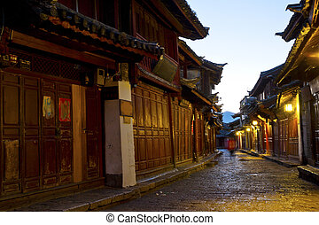 Lijiang old town at morning, China.
