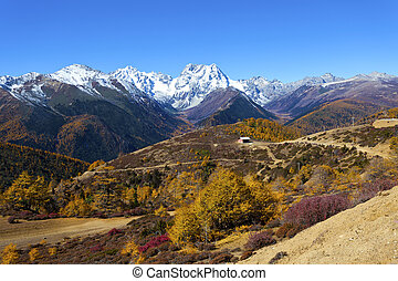 Haba snow mountain landscape in China at autumn