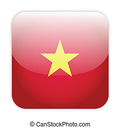 Vietnam flag button on white
