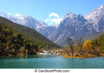 Mountain landscape in Lijiang, China.