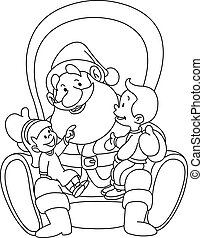 Outlined Santa with kids - Outlined illustration of kids...