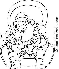 Outlined Santa with kids - Outlined illustration of kids...