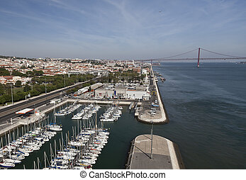 View of Lisbon and 25th April Bridge seen from the top of...