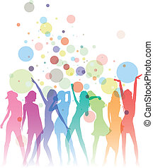 Ladies Night - Colorful dancing woman silhouettes with...