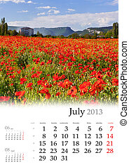 2013 Calendar. July. Beautiful summer landscape with field...