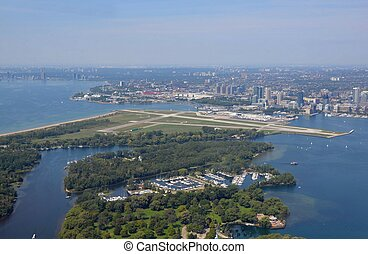 Toronto Island Airport - aerial view of the Billy Bishop...