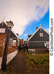 rainy clouds in the village - Marken (local: Mereke) is a...