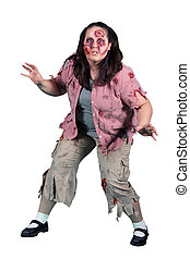 A Female Zombie Horror on White - A female halloween zombie...