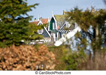Traditional Fisherman's cottage village at Marken the...