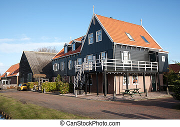 Traditional Fishermans cottage village at Marken the...