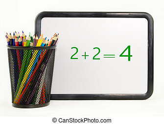 Colored Pencils With Math Dry Erase Board