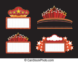 Retro illuminated Movie marquee Blank sign Vector Set