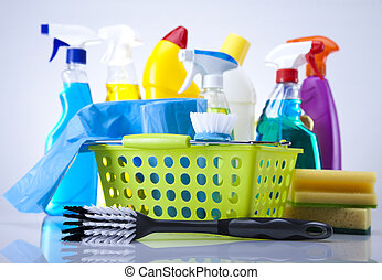 Cleaning products - Variety of cleaning products. Cleaning...