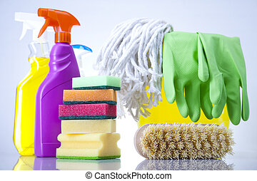 Cleaning supplies - Variety of cleaning products. Cleaning...