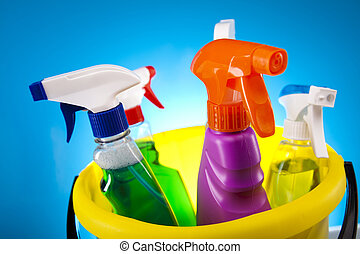 Cleaning - Variety of cleaning products. Cleaning time.