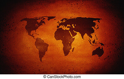 Hot world map, global warming - Hot glowing world map,...