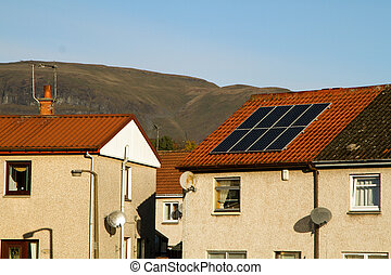 Solar panelling on roof - shot of Solar Panelling on roof in...