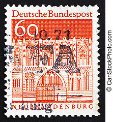 Postage stamp Germany 1967 Treptow Gate, Neubrandenburg -...