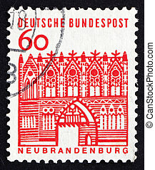 Postage stamp Germany 1964 Treptow Gate, Neubrandenburg -...
