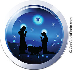 Nativity scene silhouette vector - Nativity family scene...