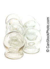 cupping glass close up - object on white medical tool...