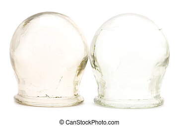 cupping glass macro - object on white medical tool cupping...