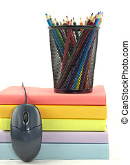 Books,Mouse, And Pencils