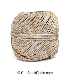 coil of hemp twine - closeup of a coil of hemp twine on a...