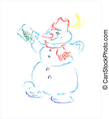 Hand drawn snowman greeting card ve