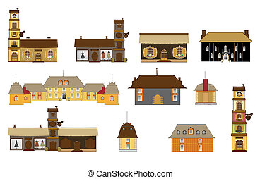 original houses, icons, signs, vector illustrations