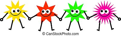 diverse stars - team of diverse and colourful cartoon stars...
