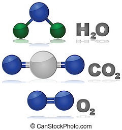 Common molecules - Glossy illustration showing the...