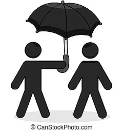 Helping umbrella - Cartoon showing a stick figure helping...