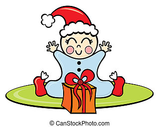 Baby in Christmas time - Illustration of happy baby with...