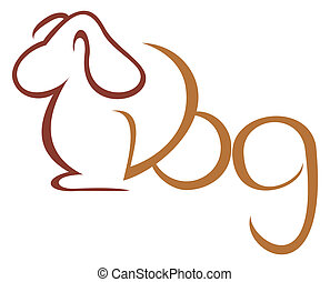 Dog symbol - Illustration of dog isolated on white