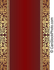 dark red background with gold ornaments