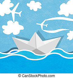 Paper boat on a background of ocean blue and cloudy sky with planes.