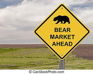Caution Sign - Bear Market Ahead - Caution Sign _ Bear...