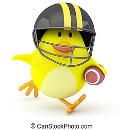 Quarterback - Little american football player chick on white...