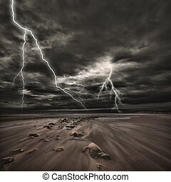 Lightning thunderstorm at sea - Lightning flashes across the...