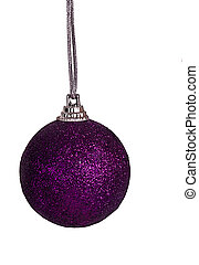 Purple Christmas bauble, ball - isolated - Glittery bauble,...