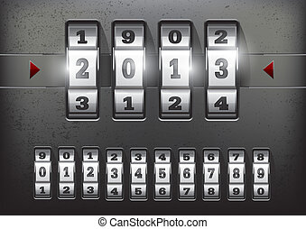 Combination lock showing the number of the year 2013