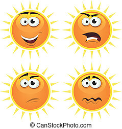 Cartoon Sun Icons Emotions - Illustration of a set of...