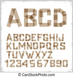 Alphabet letters and numbers made from adhesive tape. Vector...