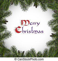 Christmas frame with branches spruce .Vector Illustration