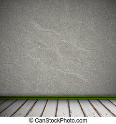 Empty Interior of vintage room with gray stone wall and old wood floor. Vector eps10