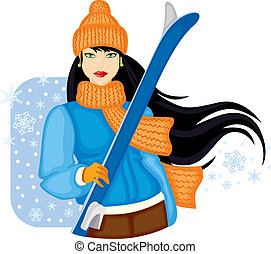 Girl with skis - Girl in orange warm hat and scarf holding...