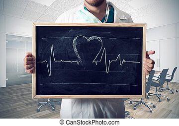 Heart graph - Doctor show heart graph in a blackboard