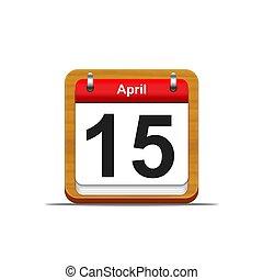 April 15. - Illustration elegant wooden calendar on white...